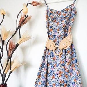 Valleygirl Blue Floral Dress with Knit Belt